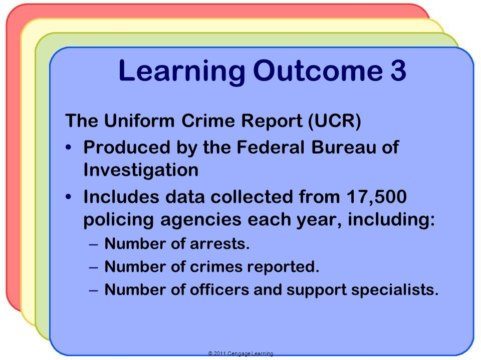 © 2011 Cengage Learning Learning Outcome 3 The Uniform Crime Report (UCR) Produced by the Federal Bureau of Investigation Includes data collected from