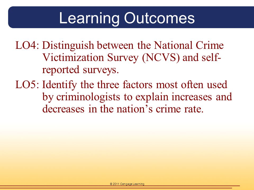 © 2011 Cengage Learning Learning Outcome 4 Victim Surveys are a method of gathering crime where citizens are surveyed directly regarding their criminal victimizations.
