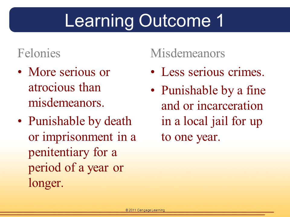 © 2011 Cengage Learning Learning Outcome 1 Felonies More serious or atrocious than misdemeanors. Punishable by death or imprisonment in a penitentiary