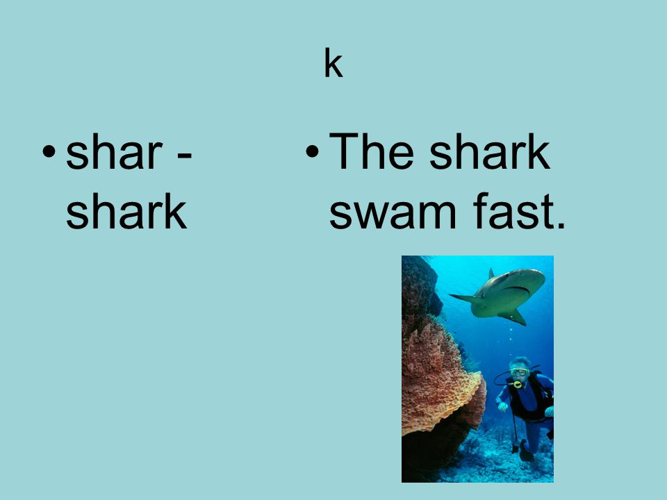 k shar - shark The shark swam fast.