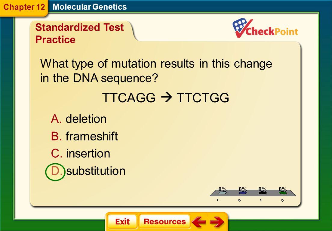 1.A 2.B 3.C 4.D STP 2 Molecular Genetics Chapter 12 Standardized Test Practice A. mRNA processing B. protein synthesis C. transcription D. translation