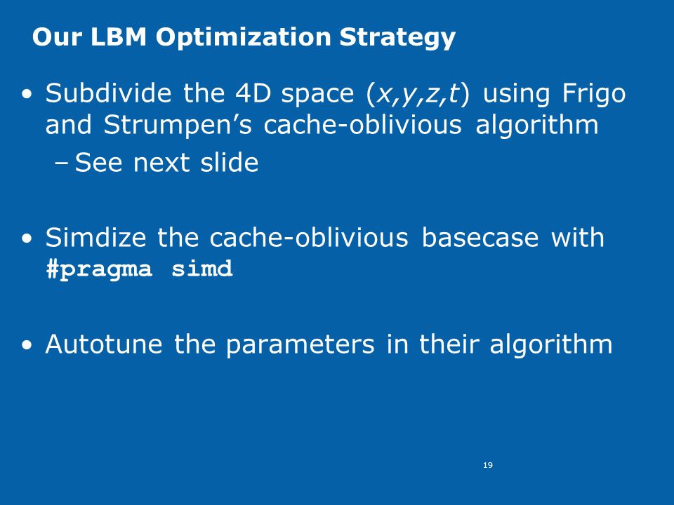 19 Our LBM Optimization Strategy Subdivide the 4D space (x,y,z,t) using Frigo and Strumpen's cache-oblivious algorithm –See next slide Simdize the cache-oblivious basecase with #pragma simd Autotune the parameters in their algorithm