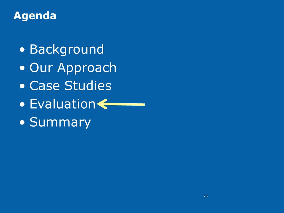 25 Agenda Background Our Approach Case Studies Evaluation Summary