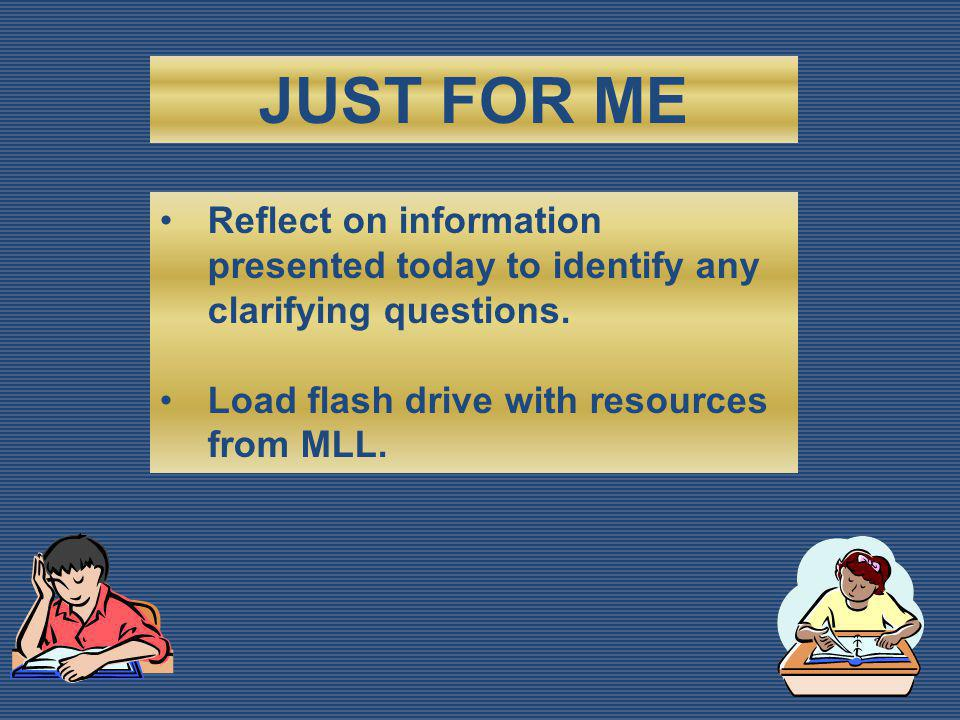 Reflect on information presented today to identify any clarifying questions.