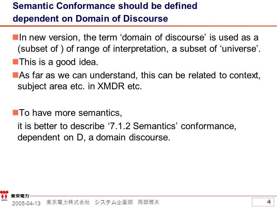 2005-04-13 東京電力株式会社 システム企画部 岡部雅夫 4 Semantic Conformance should be defined dependent on Domain of Discourse In new version, the term 'domain of discourse' is used as a (subset of ) of range of interpretation, a subset of 'universe'.