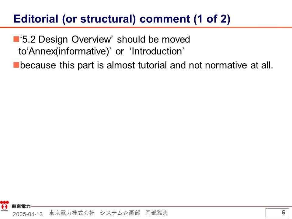 2005-04-13 東京電力株式会社 システム企画部 岡部雅夫 6 Editorial (or structural) comment (1 of 2) '5.2 Design Overview' should be moved to'Annex(informative)' or 'Introduction' because this part is almost tutorial and not normative at all.