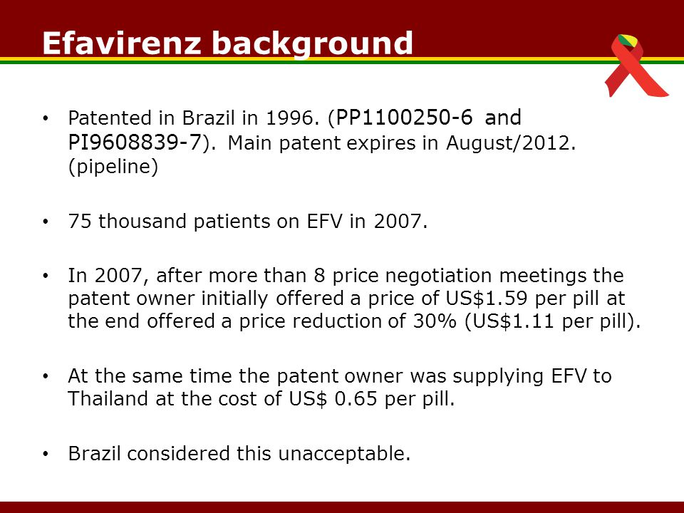 Efavirenz background Patented in Brazil in 1996. ( PP1100250-6 and PI9608839-7 ).