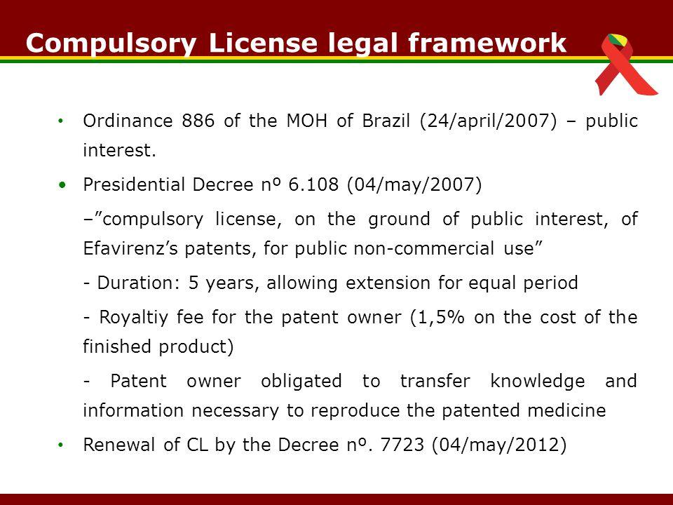 Ordinance 886 of the MOH of Brazil (24/april/2007) – public interest.