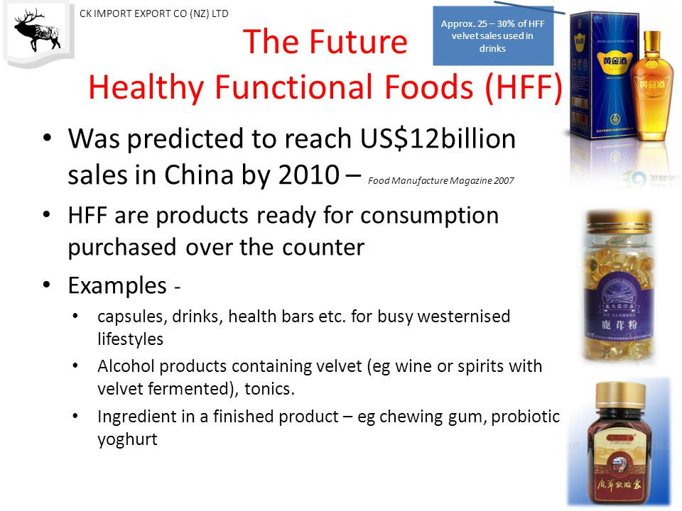 The Future Healthy Functional Foods (HFF) Was predicted to reach US$12billion sales in China by 2010 – Food Manufacture Magazine 2007 HFF are products ready for consumption purchased over the counter Examples - capsules, drinks, health bars etc.