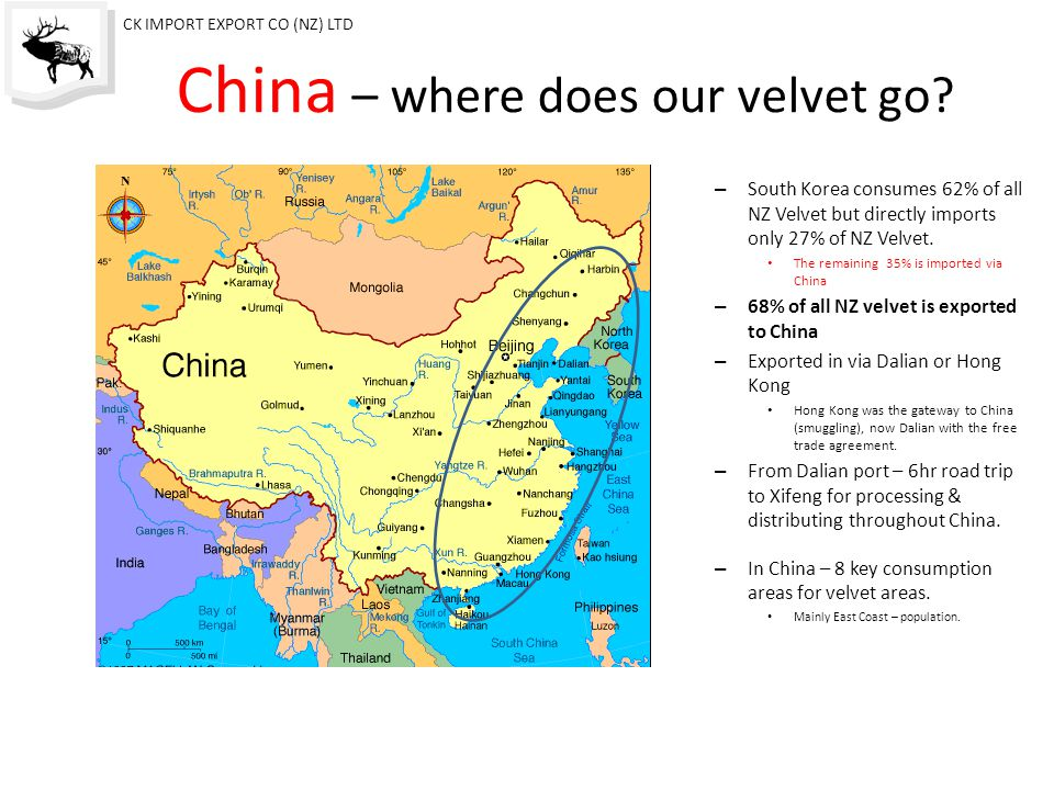 The Market –NZ Exports South Korea consumes 62% of all NZ Velvet but imports only 27% of NZ Velvet.