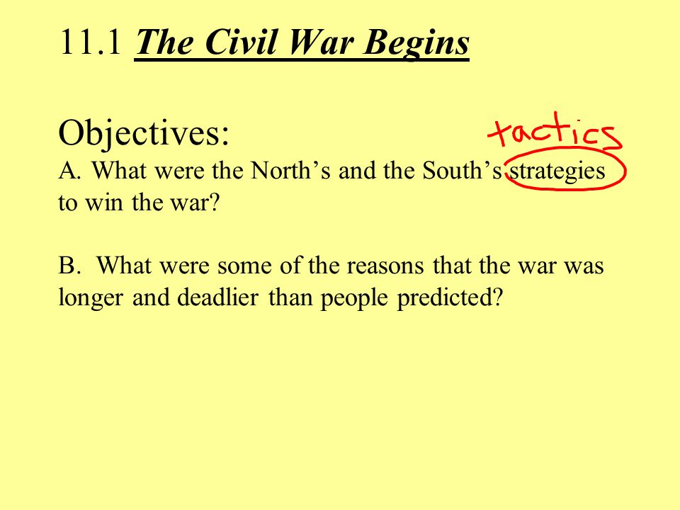 11.1 The Civil War Begins Objectives: A.