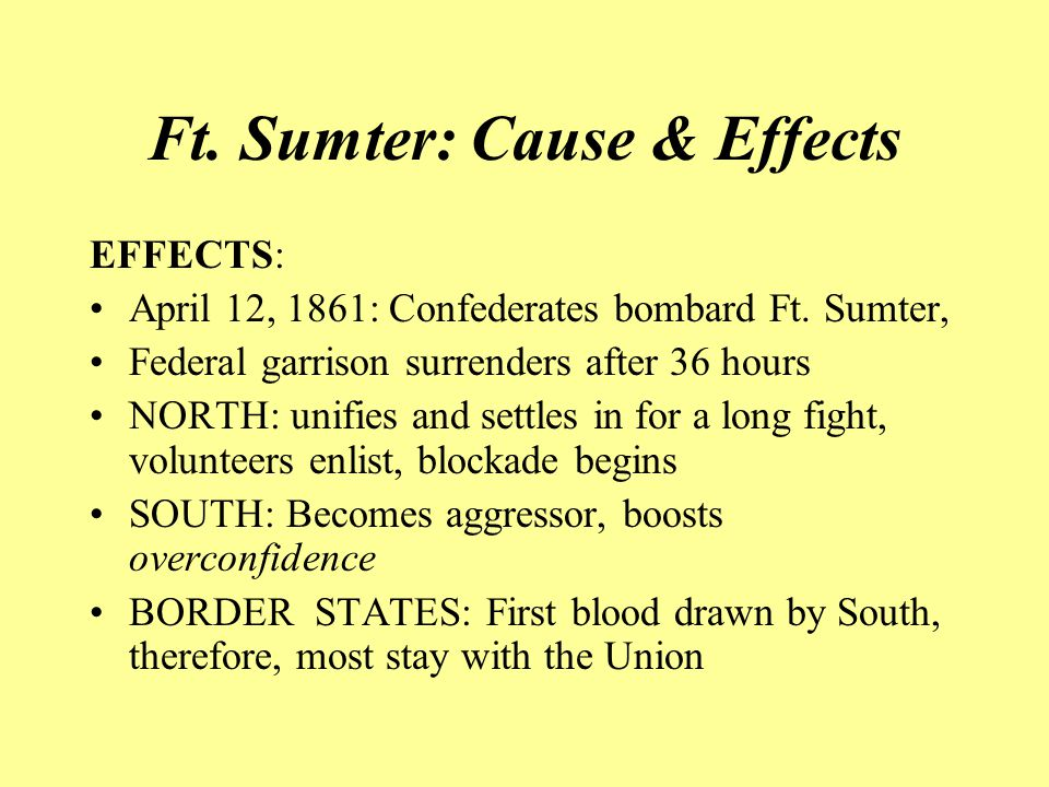 Ft. Sumter: Cause & Effects EFFECTS: April 12, 1861: Confederates bombard Ft.