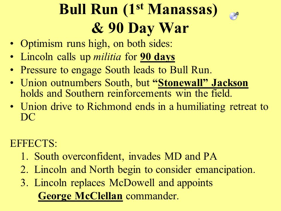 Bull Run (1 st Manassas) & 90 Day War Optimism runs high, on both sides: Lincoln calls up militia for 90 days Pressure to engage South leads to Bull Run.