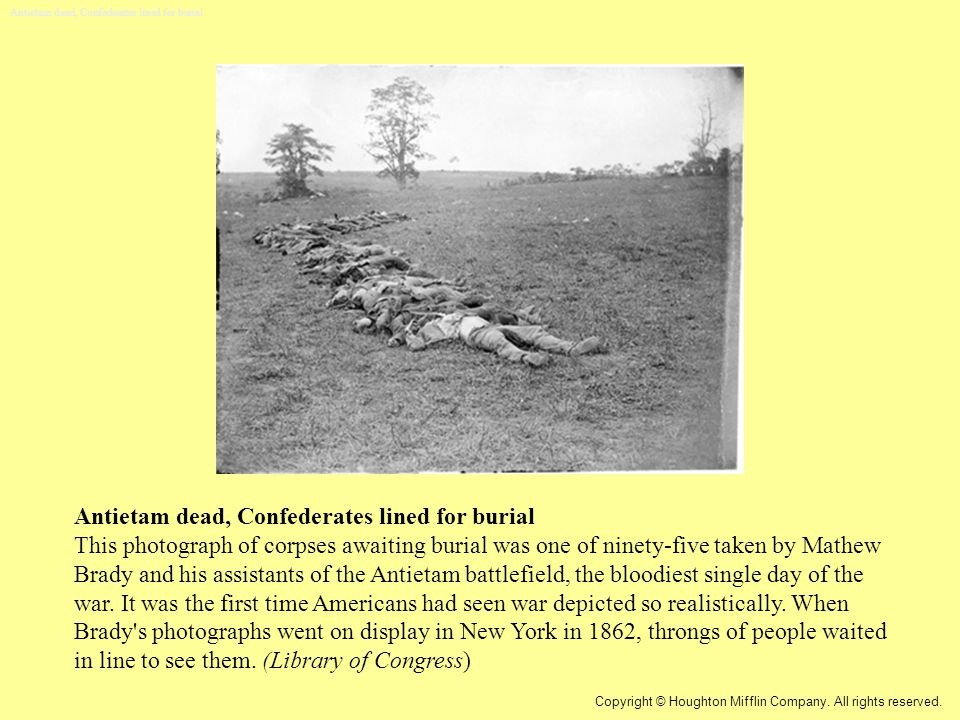 Antietam dead, Confederates lined for burial This photograph of corpses awaiting burial was one of ninety-five taken by Mathew Brady and his assistants of the Antietam battlefield, the bloodiest single day of the war.