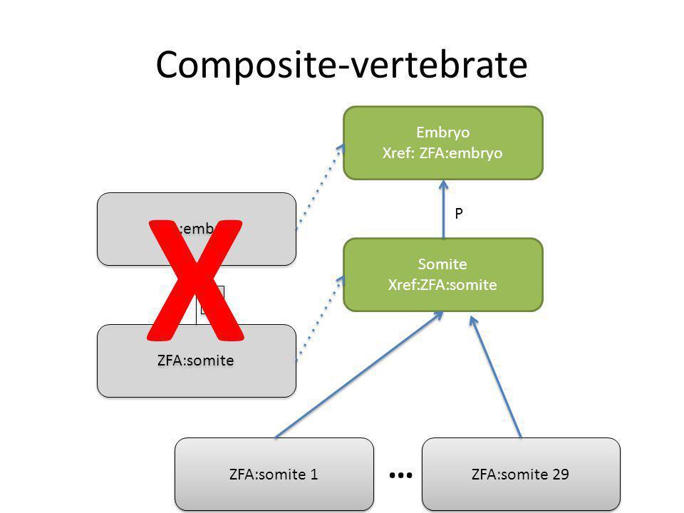 Composite-vertebrate Somite Xref:ZFA:somite Embryo Xref: ZFA:embryo P ZFA:somite ZFA:embryo P P ZFA:somite 1 ZFA:somite 29 … X