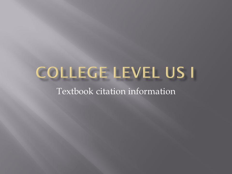 Textbook citation information