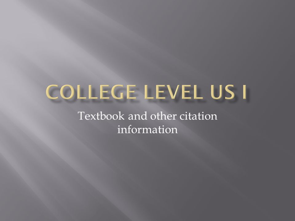 Textbook and other citation information