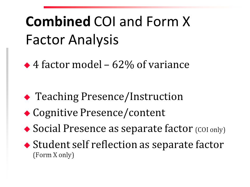 Combined COI and Form X Factor Analysis u 4 factor model – 62% of variance u Teaching Presence/Instruction u Cognitive Presence/content u Social Presence as separate factor (COI only) u Student self reflection as separate factor (Form X only)