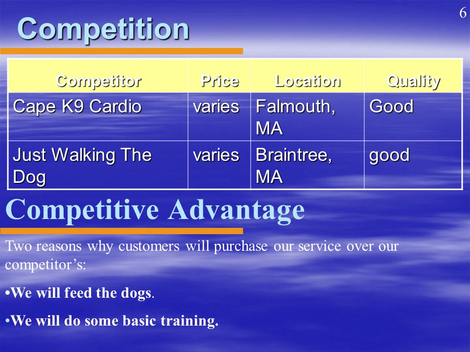 Competition CompetitorPriceLocationQuality Cape K9 Cardio varies Falmouth, MA Good Just Walking The Dog varies Braintree, MA good Competitive Advantage Two reasons why customers will purchase our service over our competitor's: We will feed the dogs.