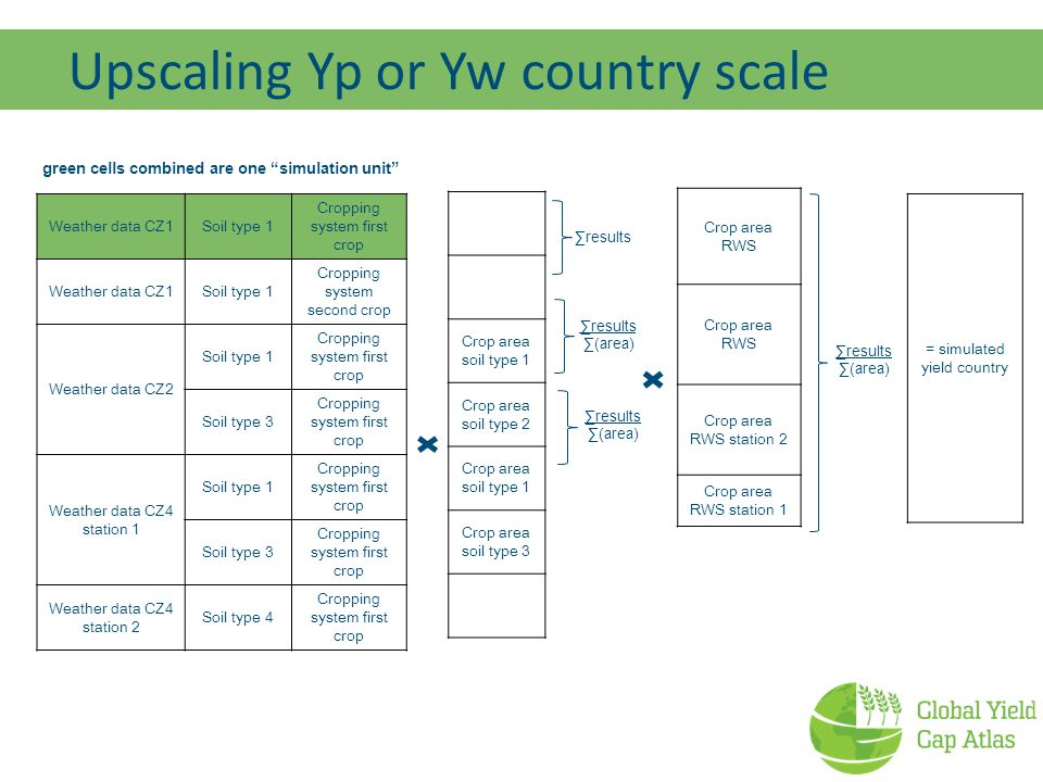 Crop area soil type 1 Crop area soil type 2 Crop area soil type 1 Crop area soil type 3 ∑results Upscaling Yp or Yw country scale green cells combined are one simulation unit ∑results ∑(area) ∑results ∑(area) Weather data CZ1Soil type 1 Cropping system first crop Weather data CZ1Soil type 1 Cropping system second crop Weather data CZ2 Soil type 1 Cropping system first crop Soil type 3 Cropping system first crop Weather data CZ4 station 1 Soil type 1 Cropping system first crop Soil type 3 Cropping system first crop Weather data CZ4 station 2 Soil type 4 Cropping system first crop = simulated yield country Crop area RWS Crop area RWS station 2 Crop area RWS station 1 ∑results ∑(area)