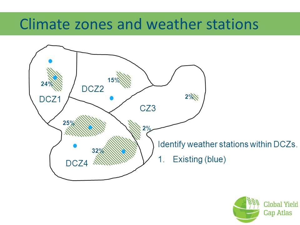 Climate zones and weather stations 24% 15% 32% 25% 2% CZ3 Identify weather stations within DCZs.