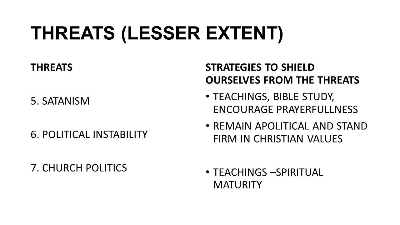 THREATS (LESSER EXTENT) THREATS 5. SATANISM 6. POLITICAL INSTABILITY 7. CHURCH POLITICS STRATEGIES TO SHIELD OURSELVES FROM THE THREATS TEACHINGS, BIB