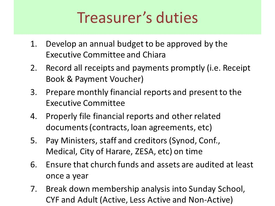 Treasurer's duties 1.Develop an annual budget to be approved by the Executive Committee and Chiara 2.Record all receipts and payments promptly (i.e.