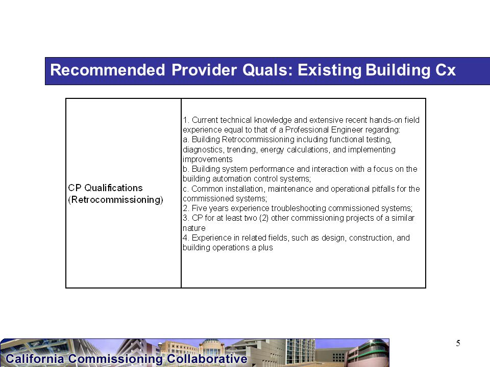 5 Recommended Provider Quals: Existing Building Cx