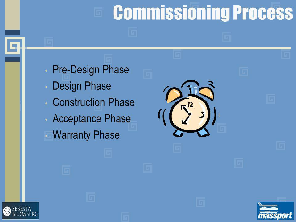 Commissioning Process Pre-Design Phase Design Phase Construction Phase Acceptance Phase Warranty Phase