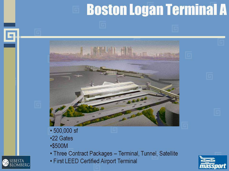 Boston Logan Terminal A 500,000 sf 22 Gates $500M Three Contract Packages – Terminal, Tunnel, Satellite First LEED Certified Airport Terminal