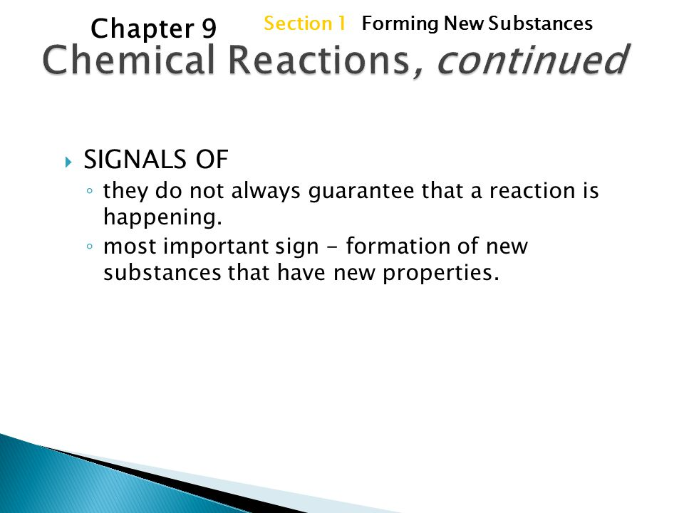 Chemical Reactions Chapter 9