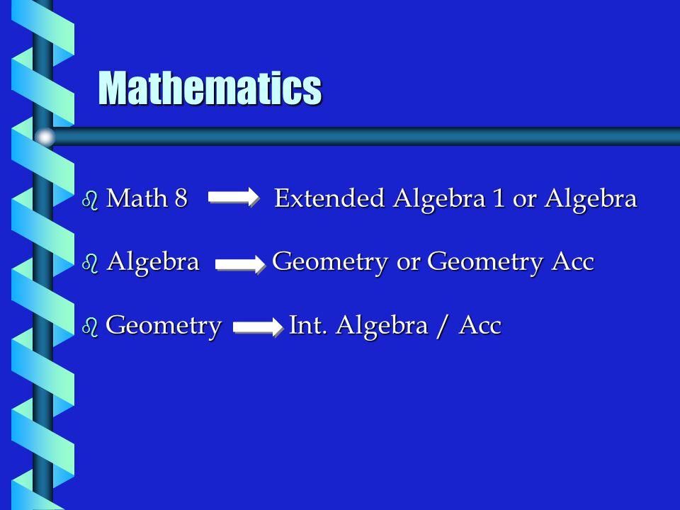 Mathematics b Math 8 Extended Algebra 1 or Algebra b Algebra Geometry or Geometry Acc b Geometry Int.