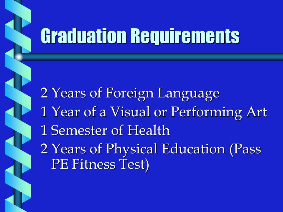Graduation Requirements 2 Years of Foreign Language 1 Year of a Visual or Performing Art 1 Semester of Health 2 Years of Physical Education (Pass PE Fitness Test)