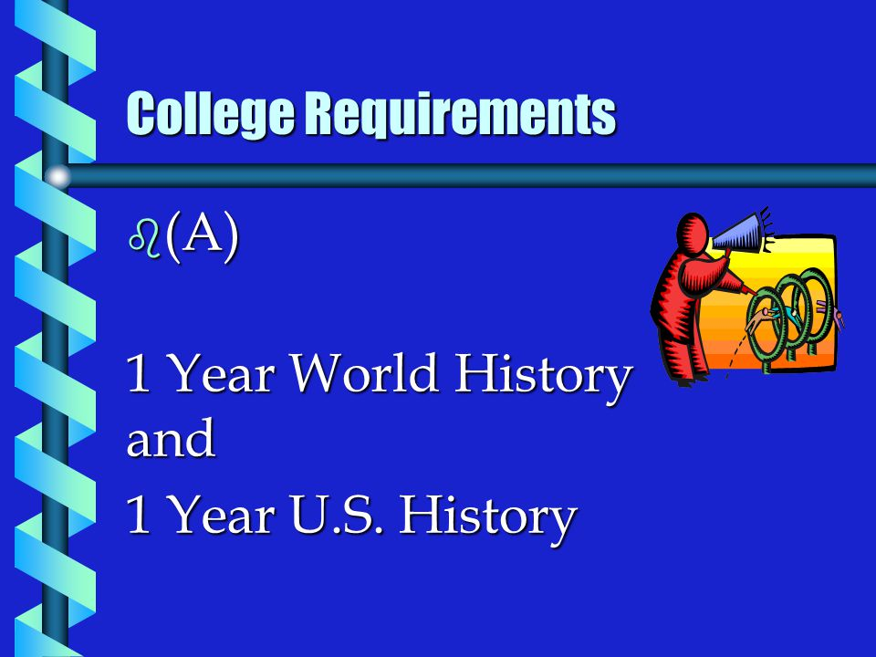 b (A) 1 Year World History and 1 Year U.S. History College Requirements