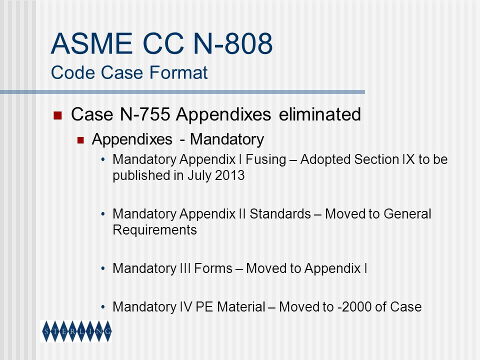 ASME CC N-808 Code Case Format Case N-755 Appendixes eliminated Appendixes - Mandatory Mandatory Appendix I Fusing – Adopted Section IX to be publishe