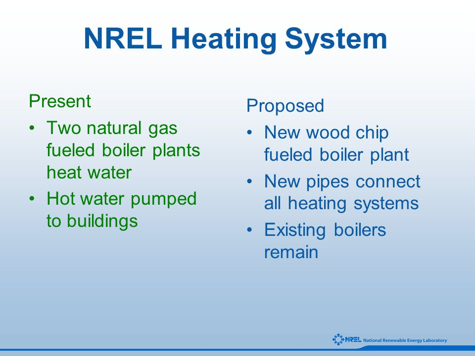 NREL Heating System Present Two natural gas fueled boiler plants heat water Hot water pumped to buildings Proposed New wood chip fueled boiler plant N