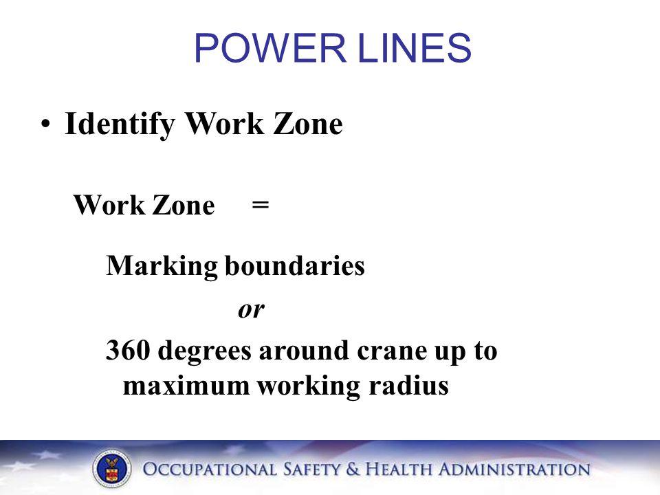 Identify Work Zone Work Zone = Marking boundaries or 360 degrees around crane up to maximum working radius POWER LINES