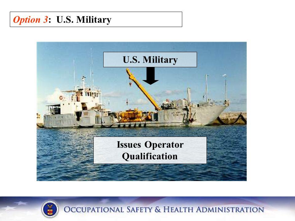 Option 3: U.S. Military U.S. Military Issues Operator Qualification
