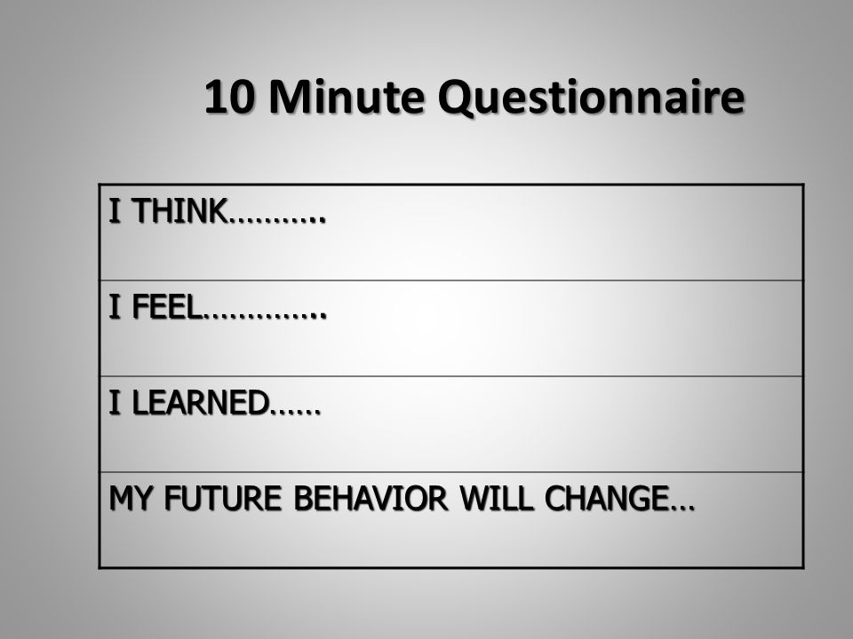 10 Minute Questionnaire I THINK……….. I FEEL………….. I LEARNED…… MY FUTURE BEHAVIOR WILL CHANGE…