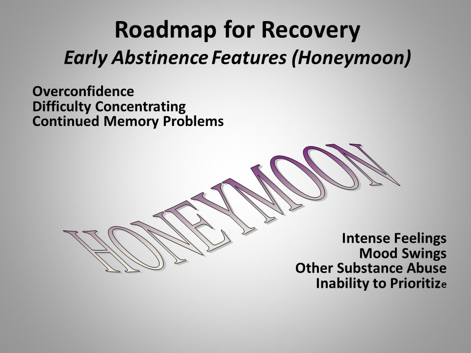 Roadmap for Recovery Early Abstinence Features (Honeymoon) Overconfidence Difficulty Concentrating Continued Memory Problems Intense Feelings Mood Swings Other Substance Abuse Inability to Prioritiz e