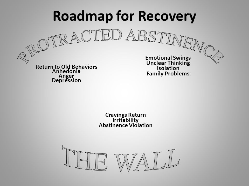 Roadmap for Recovery Return to Old Behaviors Anhedonia Anger Depression Emotional Swings Unclear Thinking Isolation Family Problems Cravings Return Irritability Abstinence Violation