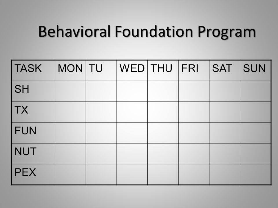 Behavioral Foundation Program TASKMONTUWEDTHUFRISATSUN SH TX FUN NUT PEX