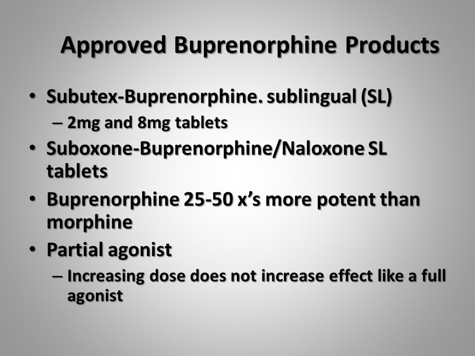 Approved Buprenorphine Products Subutex-Buprenorphine.