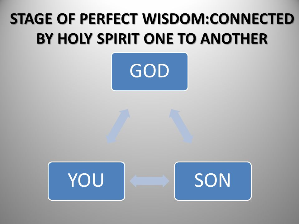 STAGE OF PERFECT WISDOM:CONNECTED BY HOLY SPIRIT ONE TO ANOTHER