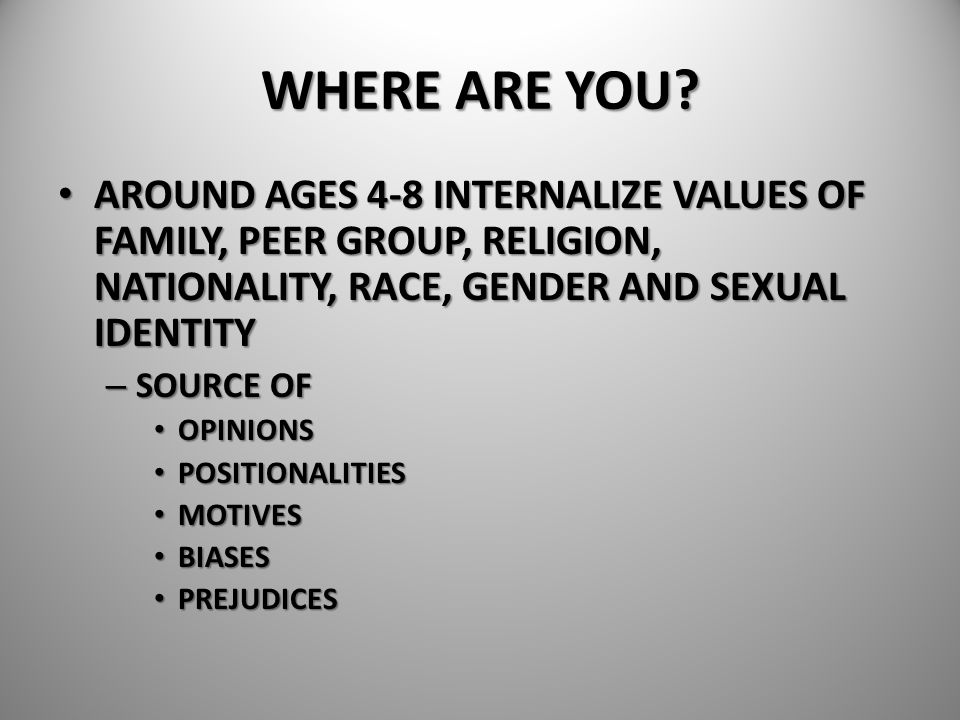WHERE ARE YOU? AROUND AGES 4-8 INTERNALIZE VALUES OF FAMILY, PEER GROUP, RELIGION, NATIONALITY, RACE, GENDER AND SEXUAL IDENTITY AROUND AGES 4-8 INTER
