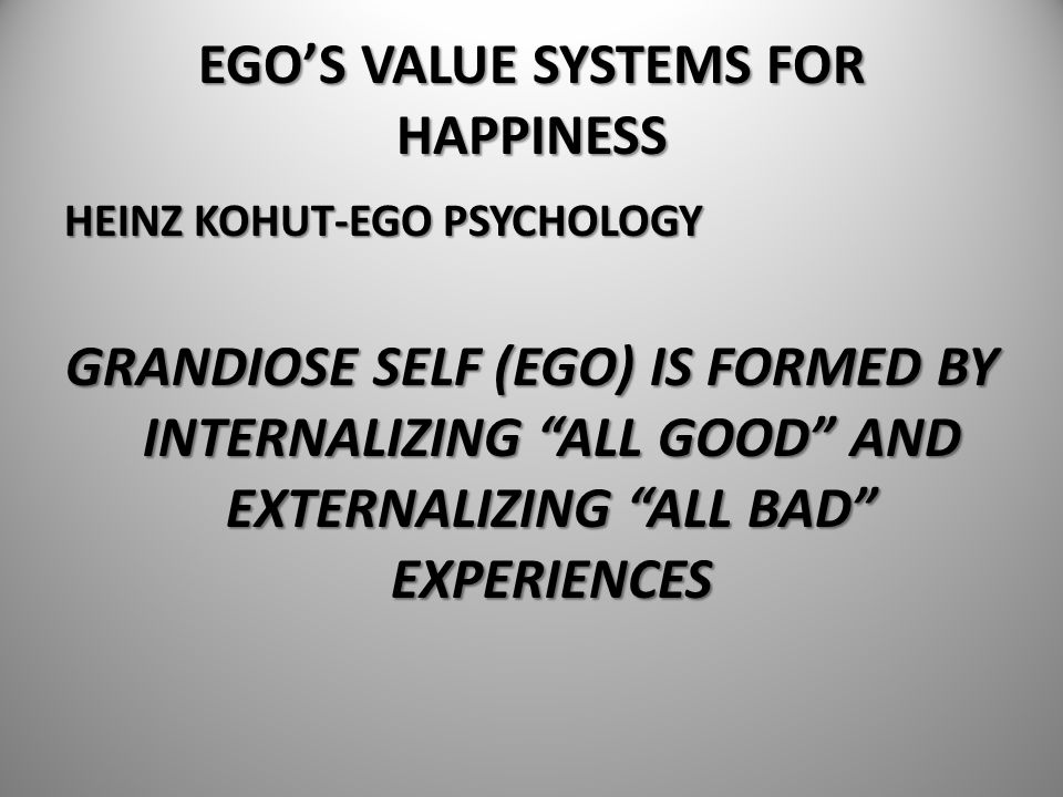 """EGO'S VALUE SYSTEMS FOR HAPPINESS HEINZ KOHUT-EGO PSYCHOLOGY GRANDIOSE SELF (EGO) IS FORMED BY INTERNALIZING """"ALL GOOD"""" AND EXTERNALIZING """"ALL BAD"""" EX"""