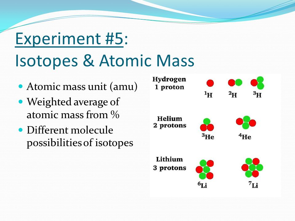 Experiment #5: Isotopes & Atomic Mass Atomic mass unit (amu) Weighted average of atomic mass from % Different molecule possibilities of isotopes