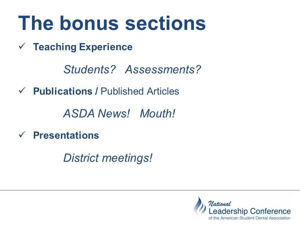 The bonus sections Teaching Experience Students. Assessments.