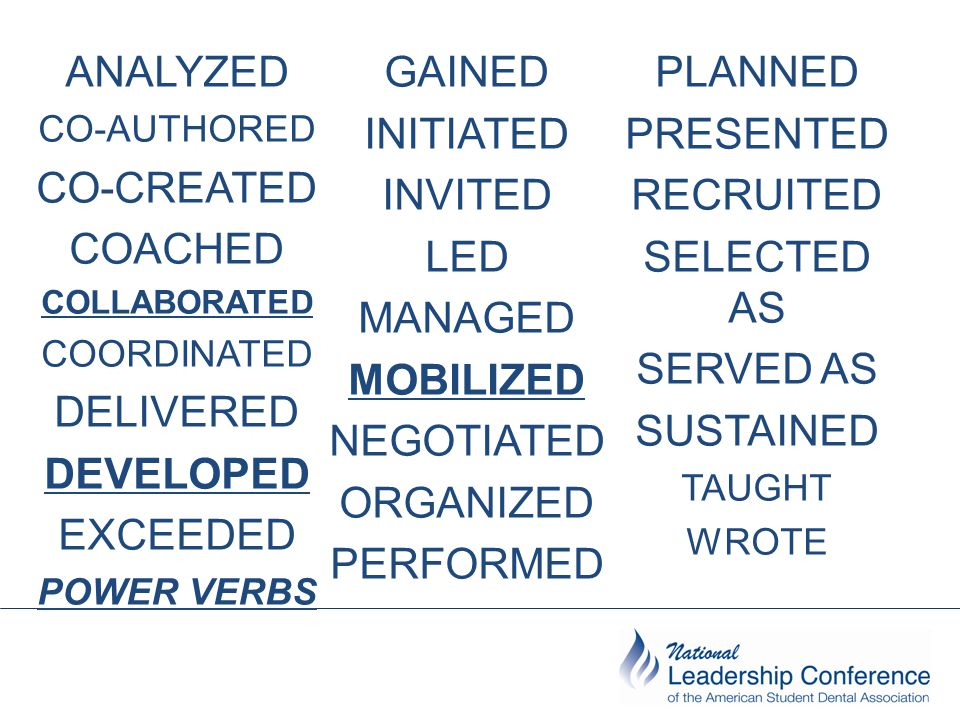 ANALYZED CO-AUTHORED CO-CREATED COACHED COLLABORATED COORDINATED DELIVERED DEVELOPED EXCEEDED POWER VERBS GAINED INITIATED INVITED LED MANAGED MOBILIZED NEGOTIATED ORGANIZED PERFORMED PLANNED PRESENTED RECRUITED SELECTED AS SERVED AS SUSTAINED TAUGHT WROTE