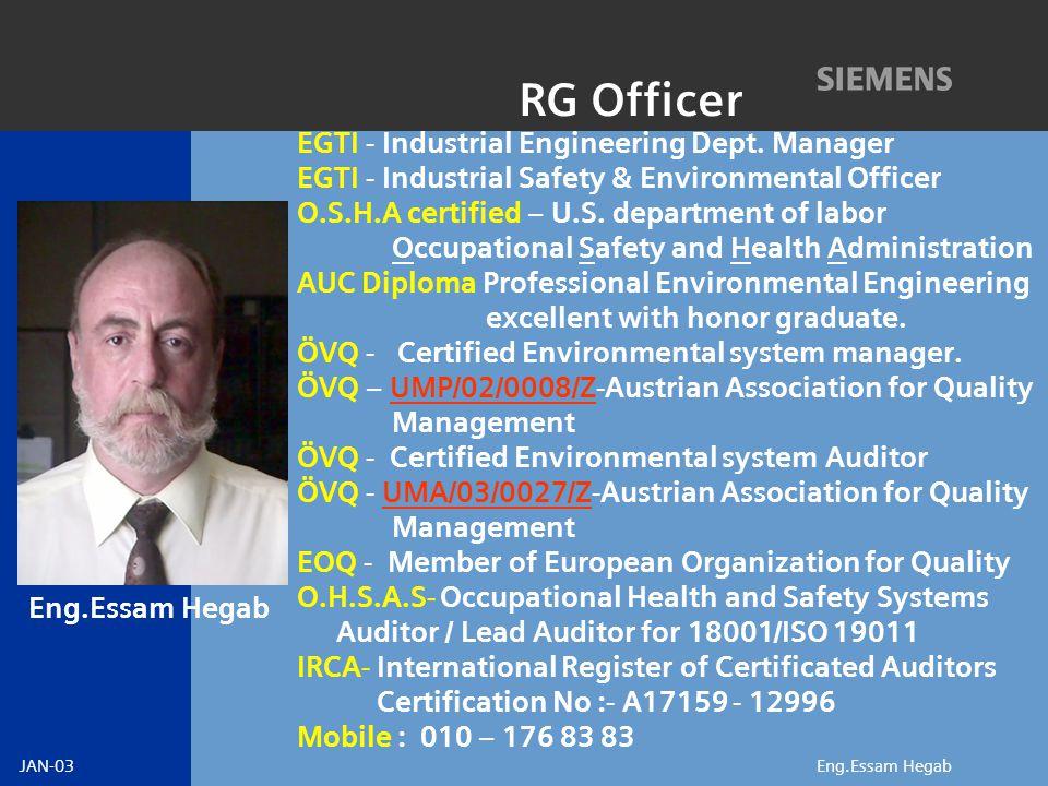 JAN-03 Eng.Essam Hegab RG Officer EGTI - Industrial Engineering Dept.